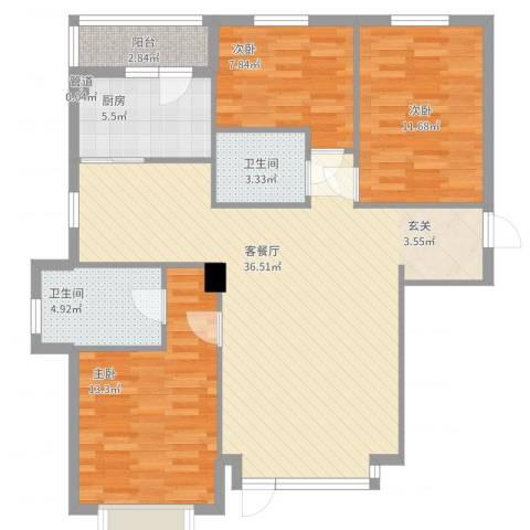 怡水湾3室2厅2卫1厨120.00㎡户型图
