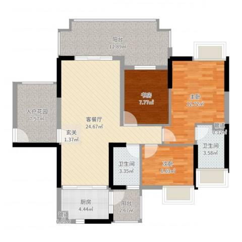 城市假日E区3室2厅2卫1厨108.00㎡户型图