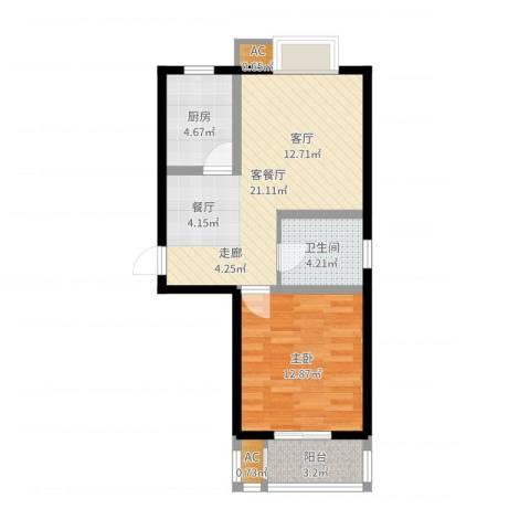 金沙嘉年华1室2厅1卫1厨59.00㎡户型图
