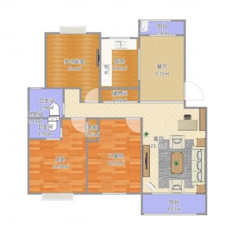 城投世纪名城2室2厅4卫1厨109.00㎡户型图