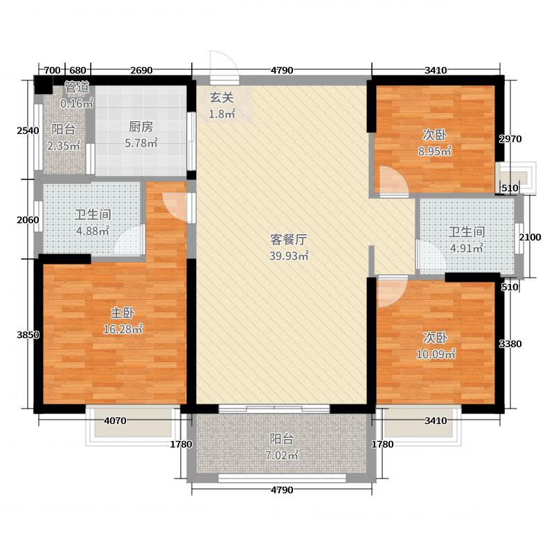 丽水蓝天125.00㎡5、6栋01户型3室3厅2卫1厨