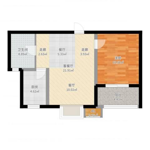 金沙嘉年华1室2厅1卫1厨61.00㎡户型图