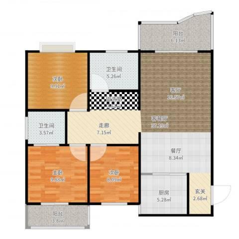 葛洪花园3室2厅2卫1厨111.00㎡户型图