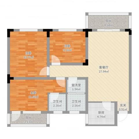 葛洪花园3室4厅2卫1厨102.00㎡户型图