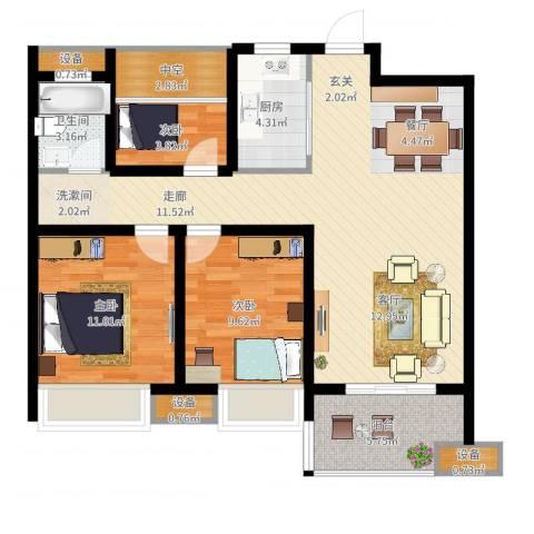 文一名门首府3室2厅1卫1厨110.00㎡户型图