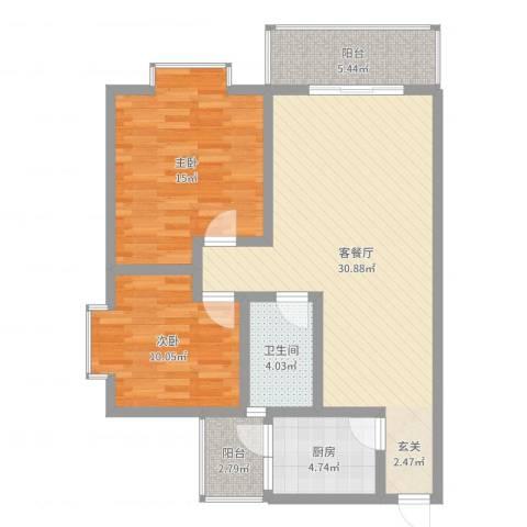 江岸山景2室2厅1卫1厨91.00㎡户型图