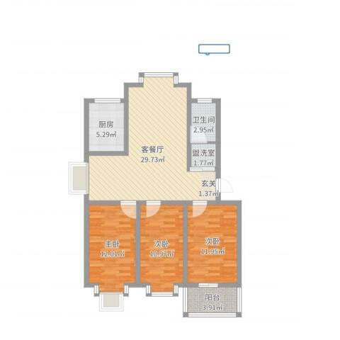 西城国际3室4厅1卫1厨98.00㎡户型图