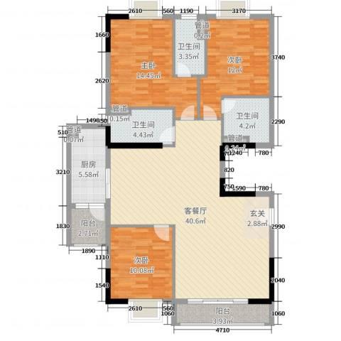 亚太银座二期3室2厅3卫1厨127.00㎡户型图