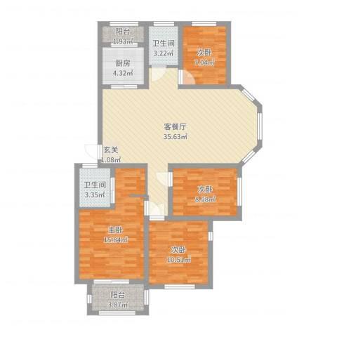 丰惠华丽家族4室2厅2卫1厨118.00㎡户型图