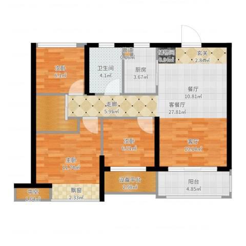 奥克斯盛世缔壹城3室2厅1卫1厨91.00㎡户型图