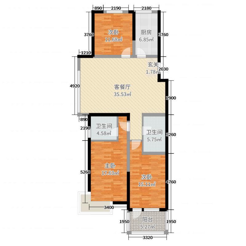 海信都市果岭128.00㎡1号楼A1户型3室3厅2卫1厨