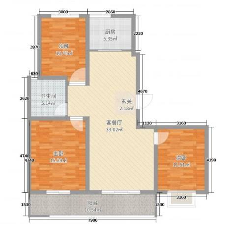 金桥天海湾3室2厅1卫1厨114.00㎡户型图