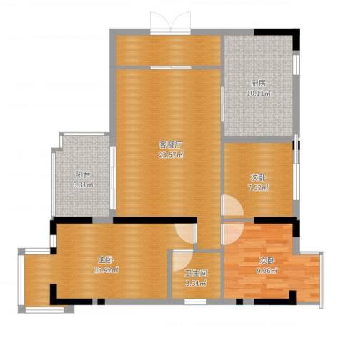 乐从国际3室2厅1卫1厨100.00㎡户型图