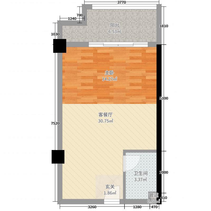 东友星座58.07㎡G户型1室1厅1卫1厨
