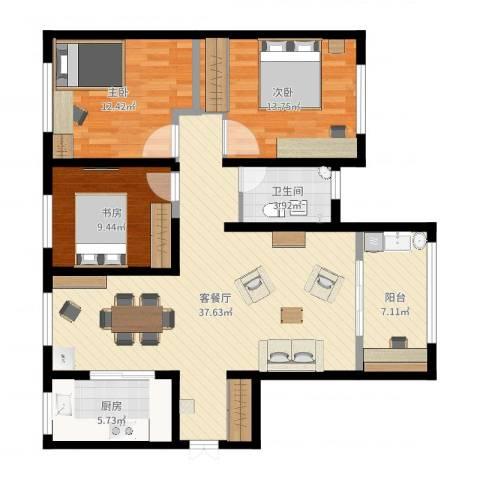 力高阳光海岸3室2厅1卫1厨112.00㎡户型图