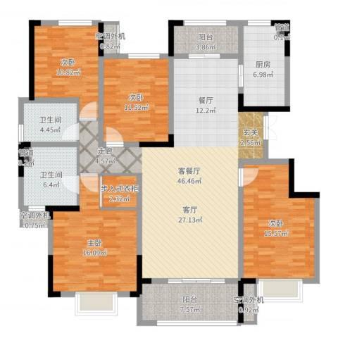 济南鲁能领秀城漫山香墅4室2厅7卫1厨169.00㎡户型图