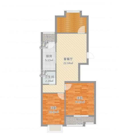 香江生态丽景2室2厅1卫1厨83.00㎡户型图