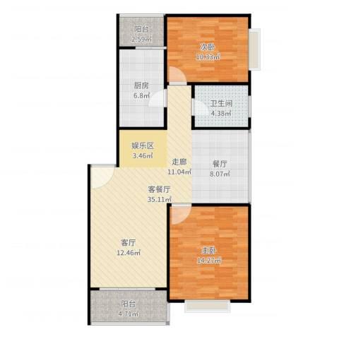 金沙嘉年华二期2室2厅1卫1厨98.00㎡户型图