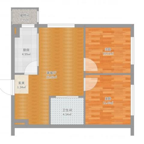 叠翠骏景2室2厅2卫2厨71.00㎡户型图