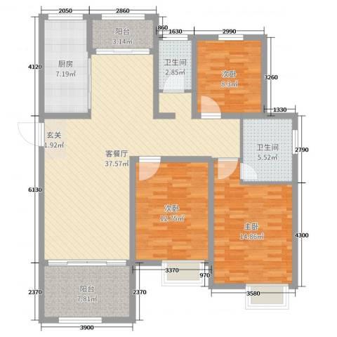 梅香雅舍3室2厅2卫1厨125.00㎡户型图