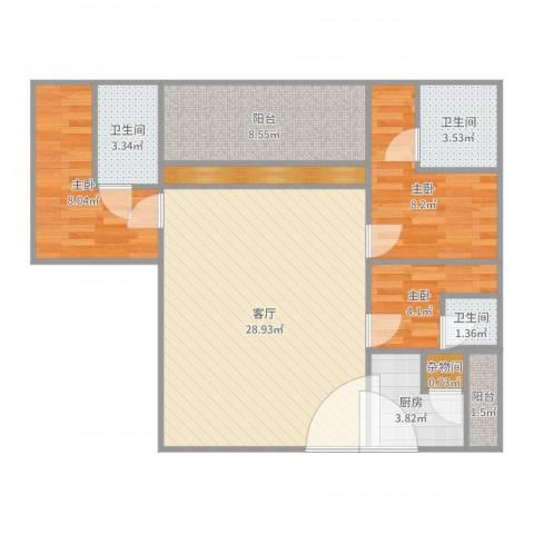 华发新城二期3室1厅3卫1厨93.00㎡户型图