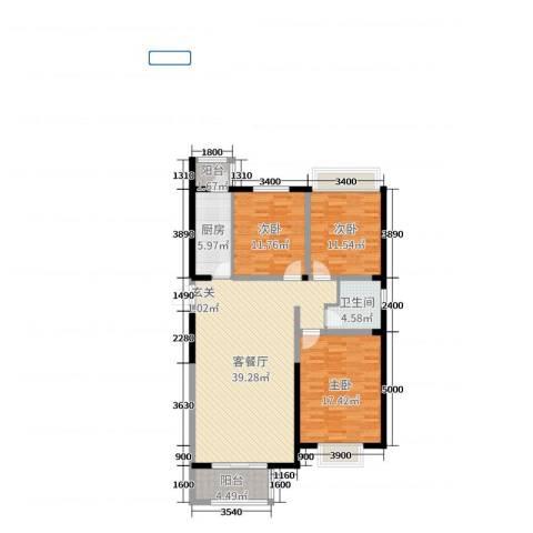 佳禾小区3室2厅1卫1厨123.00㎡户型图