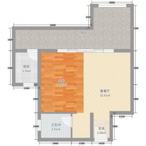 中铁国际旅游度假区2厅1卫1厨63.00㎡户型图