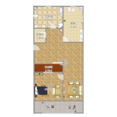 宝林六村1室2厅1卫1厨107.00㎡户型图