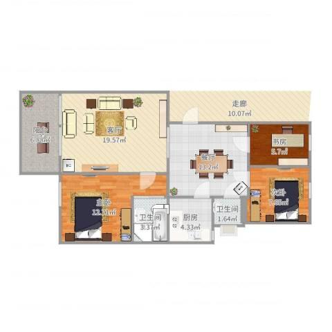 富绿新村3室2厅2卫1厨94.00㎡户型图