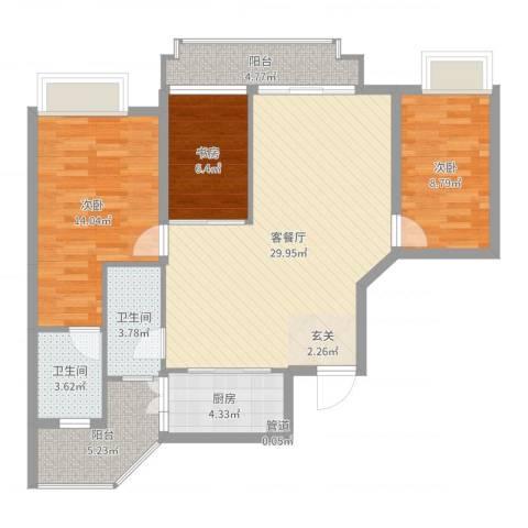 雍泉山庄3室2厅2卫1厨101.00㎡户型图