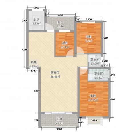 朝阳嘉苑3室2厅2卫1厨105.00㎡户型图