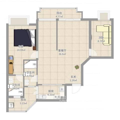 雍泉山庄2室2厅2卫1厨102.00㎡户型图