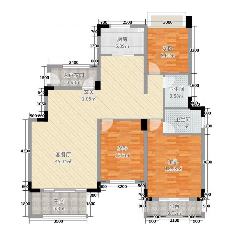 宝德・东堤湾1号132.00㎡洋房C5`户型3室3厅2卫1厨