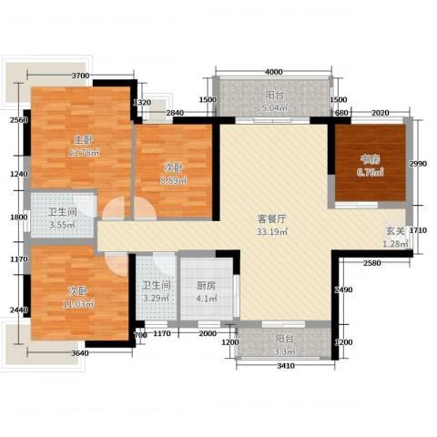 藏珑华府4室2厅2卫1厨119.00㎡户型图