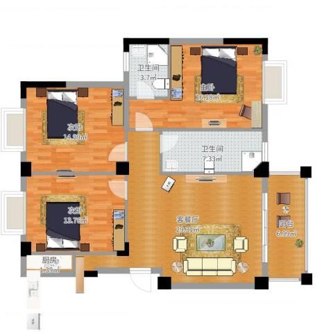 城投幸福家园3室2厅2卫1厨117.00㎡户型图