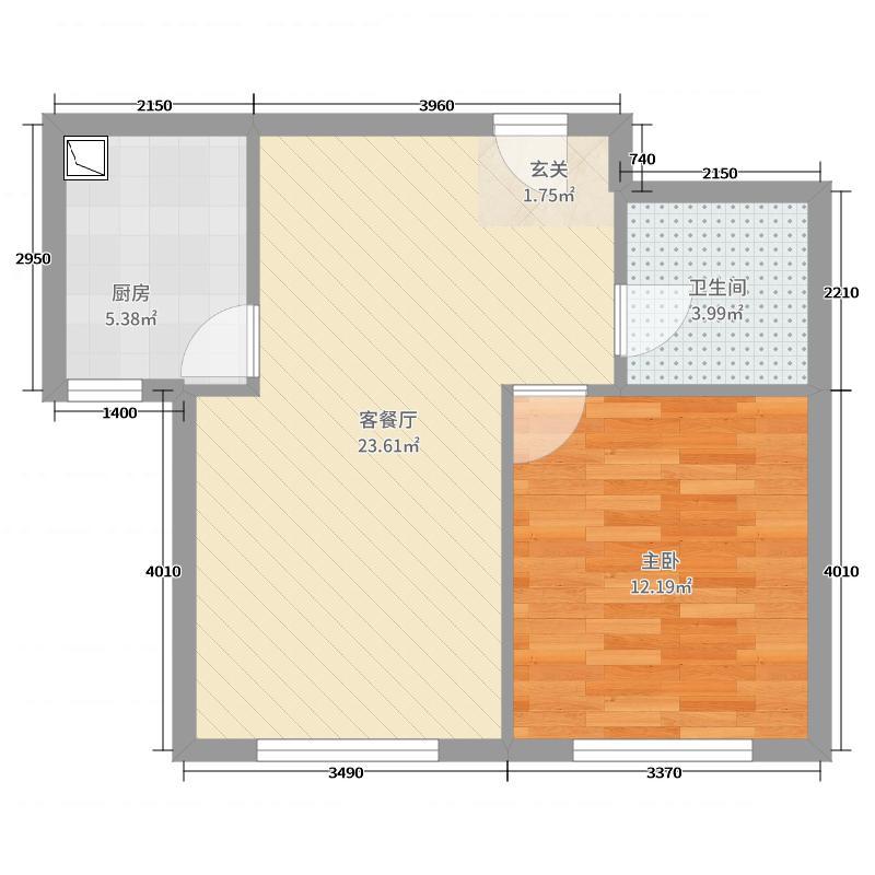 唐人宜居56.47㎡4#5#6#7#标准层D2户型1室1厅1卫1厨