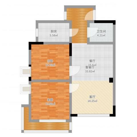 恒信・缔景名苑2室2厅1卫1厨93.00㎡户型图