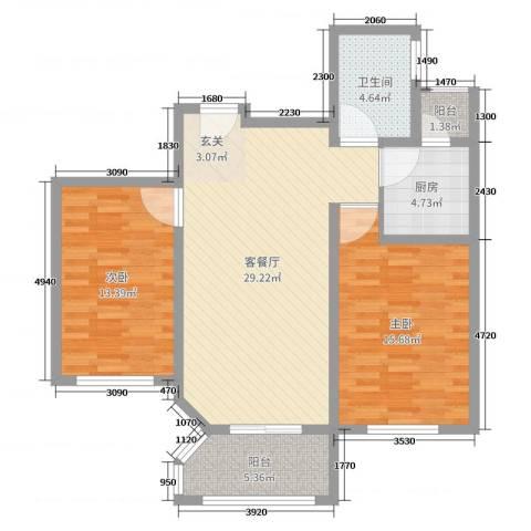英伦名嘉2室2厅1卫1厨93.00㎡户型图