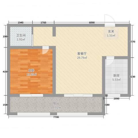 英伦名嘉1室2厅1卫1厨77.00㎡户型图