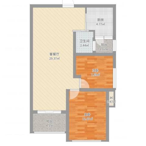 永鸿厦门湾1号2室2厅1卫1厨78.00㎡户型图