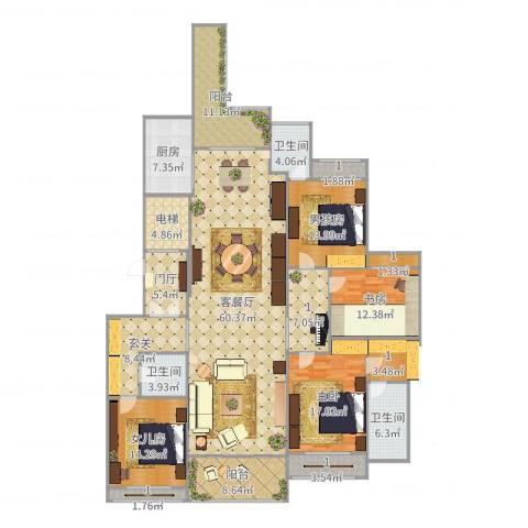 雅居乐滨江国际2室2厅3卫1厨246.00㎡户型图