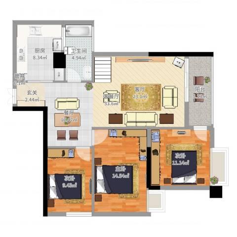尚城・国际3室2厅1卫1厨109.00㎡户型图