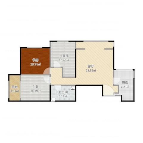 晓月苑五里3室1厅1卫1厨104.00㎡户型图
