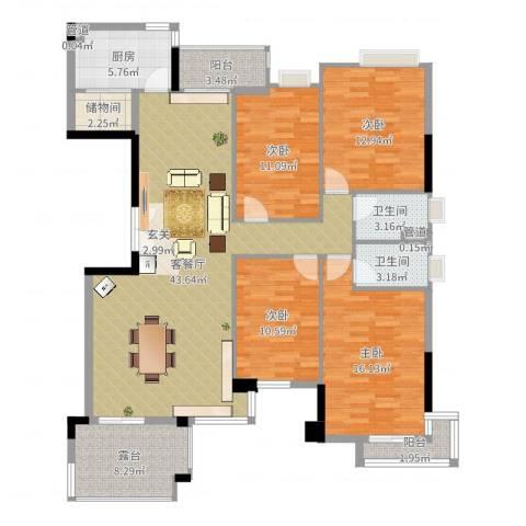 汇银奥林匹克花园4室2厅2卫1厨153.00㎡户型图
