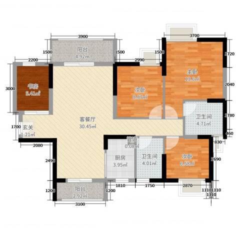 藏珑华府4室2厅2卫1厨109.00㎡户型图