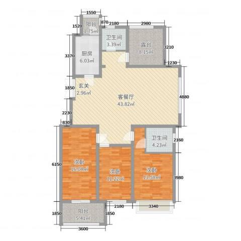 兰陵锦轩3室2厅2卫1厨142.00㎡户型图