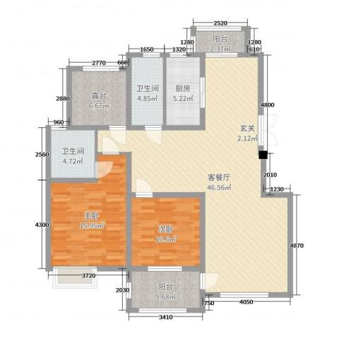 兰陵锦轩2室2厅2卫1厨129.00㎡户型图