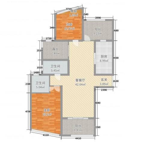 保利达江湾城2室2厅2卫1厨148.00㎡户型图