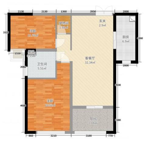 保利达江湾城2室2厅1卫1厨106.00㎡户型图