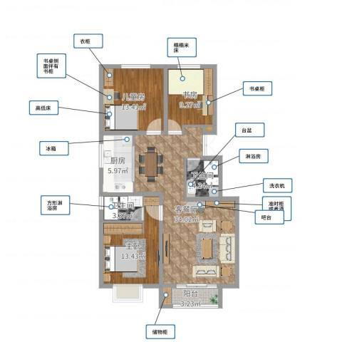 迁安晨曦家园3室2厅2卫1厨109.00㎡户型图